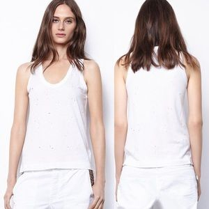 ZADIG & VOLTAIRE Deep Holes Tank White -Size Small